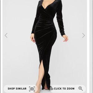 Plus size black velvet dress from Fashion Nova